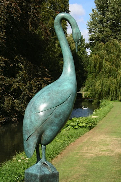 Green Swan Sculpture